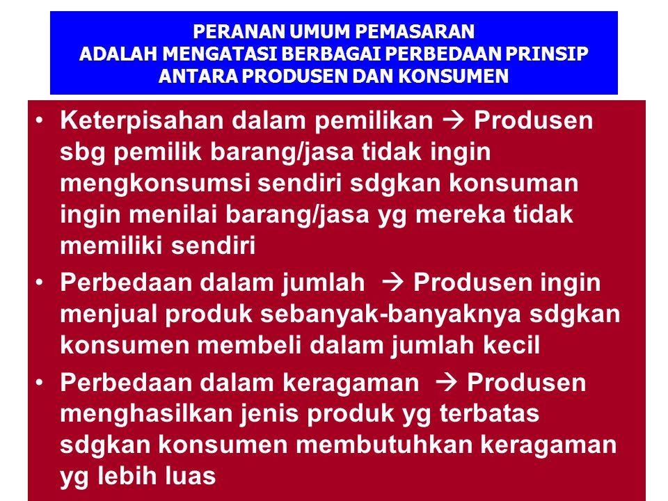 PERANAN UMUM PEMASARAN ADALAH MENGATASI BERBAGAI PERBEDAAN PRINSIP ANTARA PRODUSEN DAN KONSUMEN Keterpisahan dalam pemilikan  Produsen sbg pemilik ba
