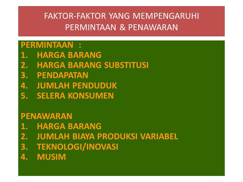 FAKTOR-FAKTOR YANG MEMPENGARUHI PERMINTAAN & PENAWARAN PERMINTAAN : 1.HARGA BARANG 2.HARGA BARANG SUBSTITUSI 3.PENDAPATAN 4.JUMLAH PENDUDUK 5.SELERA K