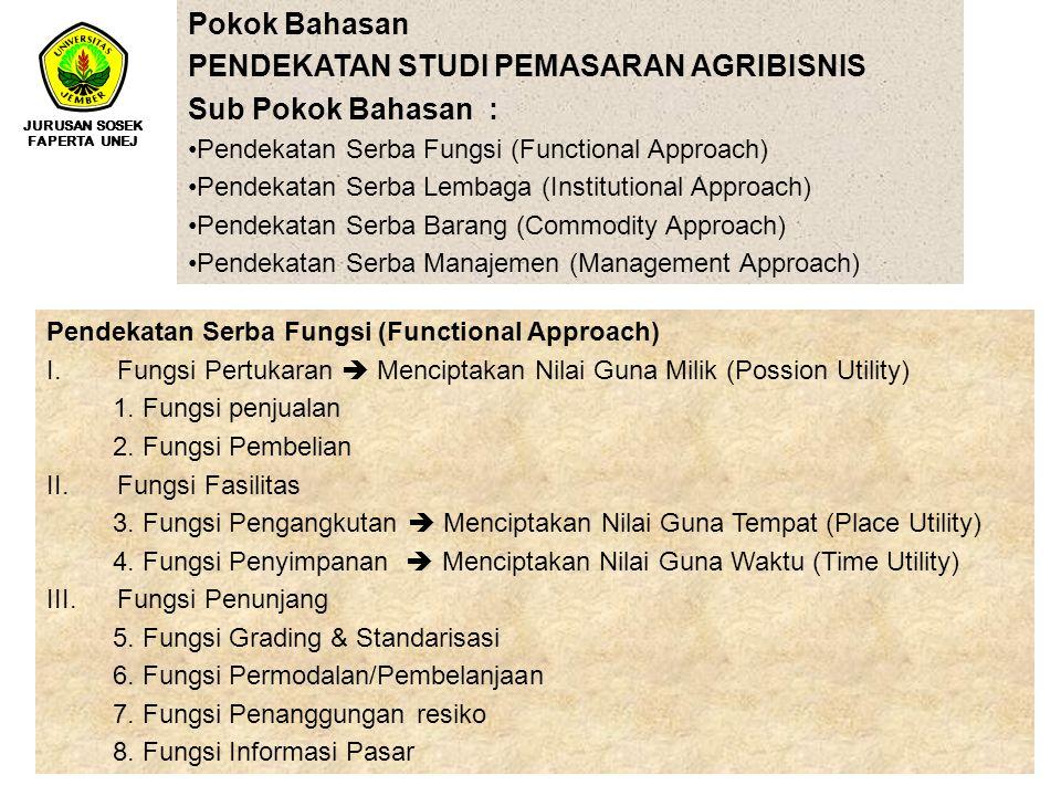 Pokok Bahasan PENDEKATAN STUDI PEMASARAN AGRIBISNIS Sub Pokok Bahasan : Pendekatan Serba Fungsi (Functional Approach) Pendekatan Serba Lembaga (Instit