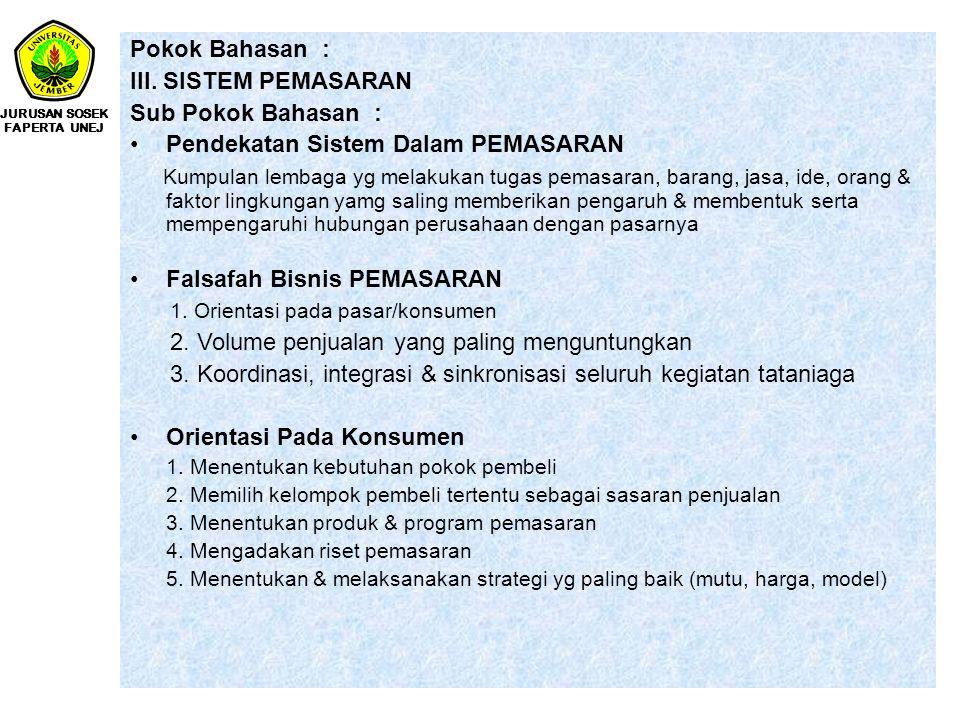 Pokok Bahasan : III. SISTEM PEMASARAN Sub Pokok Bahasan : Pendekatan Sistem Dalam PEMASARAN Kumpulan lembaga yg melakukan tugas pemasaran, barang, jas