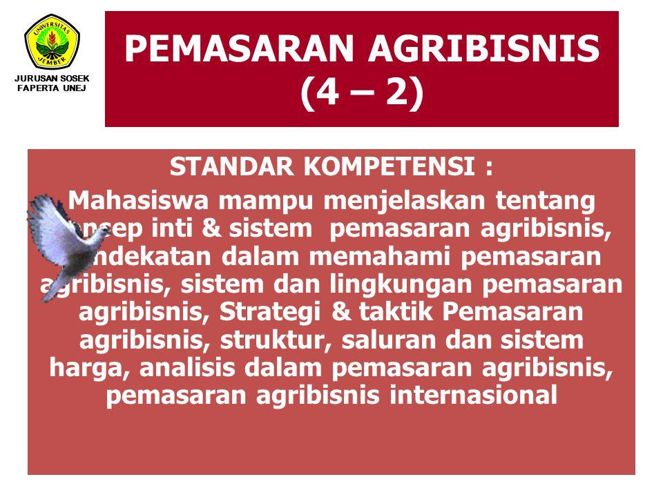 PEMASARAN AGRIBISNIS (4 – 2) JURUSAN SOSEK FAPERTA UNEJ STANDAR KOMPETENSI : Mahasiswa mampu menjelaskan tentang konsep inti & sistem pemasaran agribi