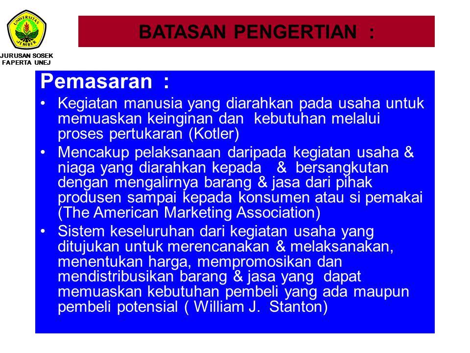 BATASAN PENGERTIAN : Pemasaran : Kegiatan manusia yang diarahkan pada usaha untuk memuaskan keinginan dan kebutuhan melalui proses pertukaran (Kotler)