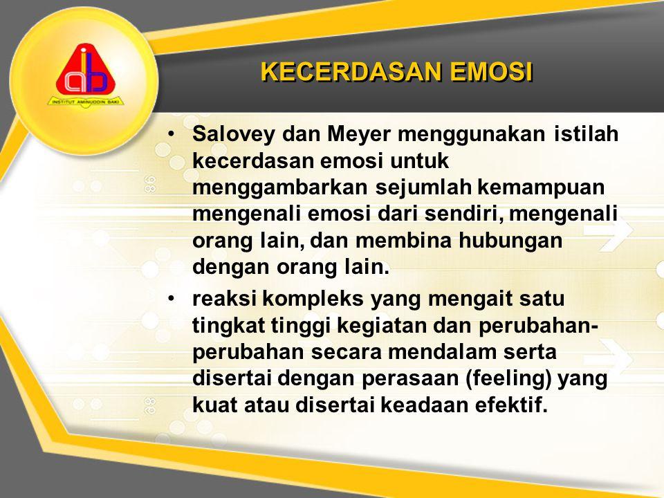 KECERDASAN EMOSI Salovey dan Meyer menggunakan istilah kecerdasan emosi untuk menggambarkan sejumlah kemampuan mengenali emosi dari sendiri, mengenali