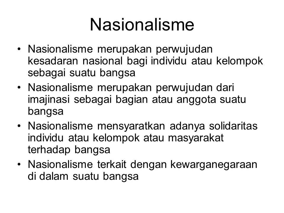 Nasionalisme Nasionalisme merupakan perwujudan kesadaran nasional bagi individu atau kelompok sebagai suatu bangsa Nasionalisme merupakan perwujudan dari imajinasi sebagai bagian atau anggota suatu bangsa Nasionalisme mensyaratkan adanya solidaritas individu atau kelompok atau masyarakat terhadap bangsa Nasionalisme terkait dengan kewarganegaraan di dalam suatu bangsa