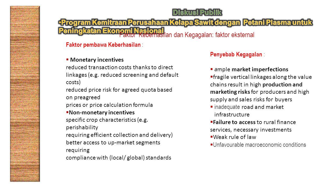 Faktor Keberhasilan dan Kegagalan: faktor eksternal Faktor pembawa Keberhasilan :  Monetary incentives reduced transaction costs thanks to direct linkages (e.g.