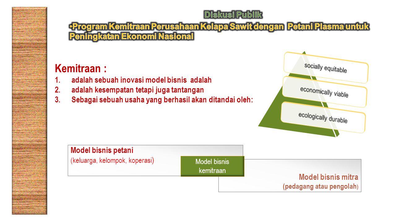 Kemitraan : 1.adalah sebuah inovasi model bisnis adalah 2.adalah kesempatan tetapi juga tantangan 3.Sebagai sebuah usaha yang berhasil akan ditandai oleh: Model bisnis petani (keluarga, kelompok, koperasi ) Model bisnis mitra (pedagang atau pengolah ) Model bisnis kemitraan