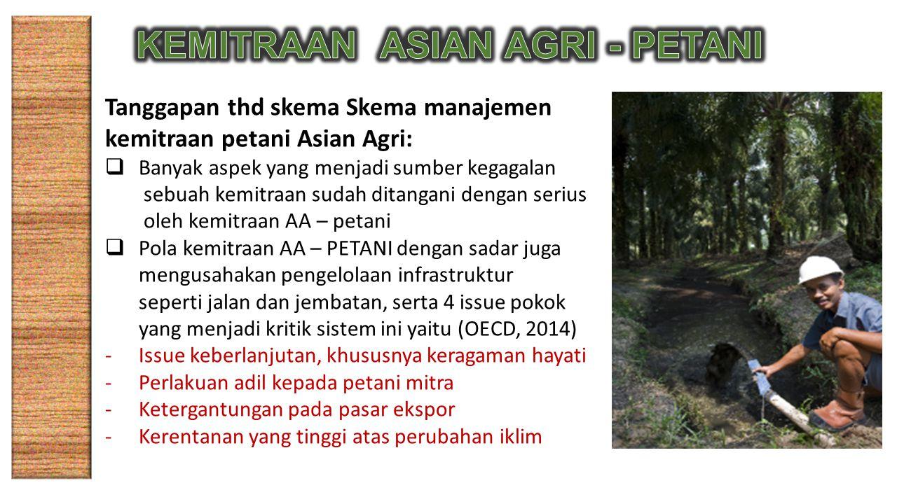 Tanggapan thd skema Skema manajemen kemitraan petani Asian Agri:  Banyak aspek yang menjadi sumber kegagalan sebuah kemitraan sudah ditangani dengan serius oleh kemitraan AA – petani  Pola kemitraan AA – PETANI dengan sadar juga mengusahakan pengelolaan infrastruktur seperti jalan dan jembatan, serta 4 issue pokok yang menjadi kritik sistem ini yaitu (OECD, 2014) -Issue keberlanjutan, khususnya keragaman hayati -Perlakuan adil kepada petani mitra -Ketergantungan pada pasar ekspor -Kerentanan yang tinggi atas perubahan iklim