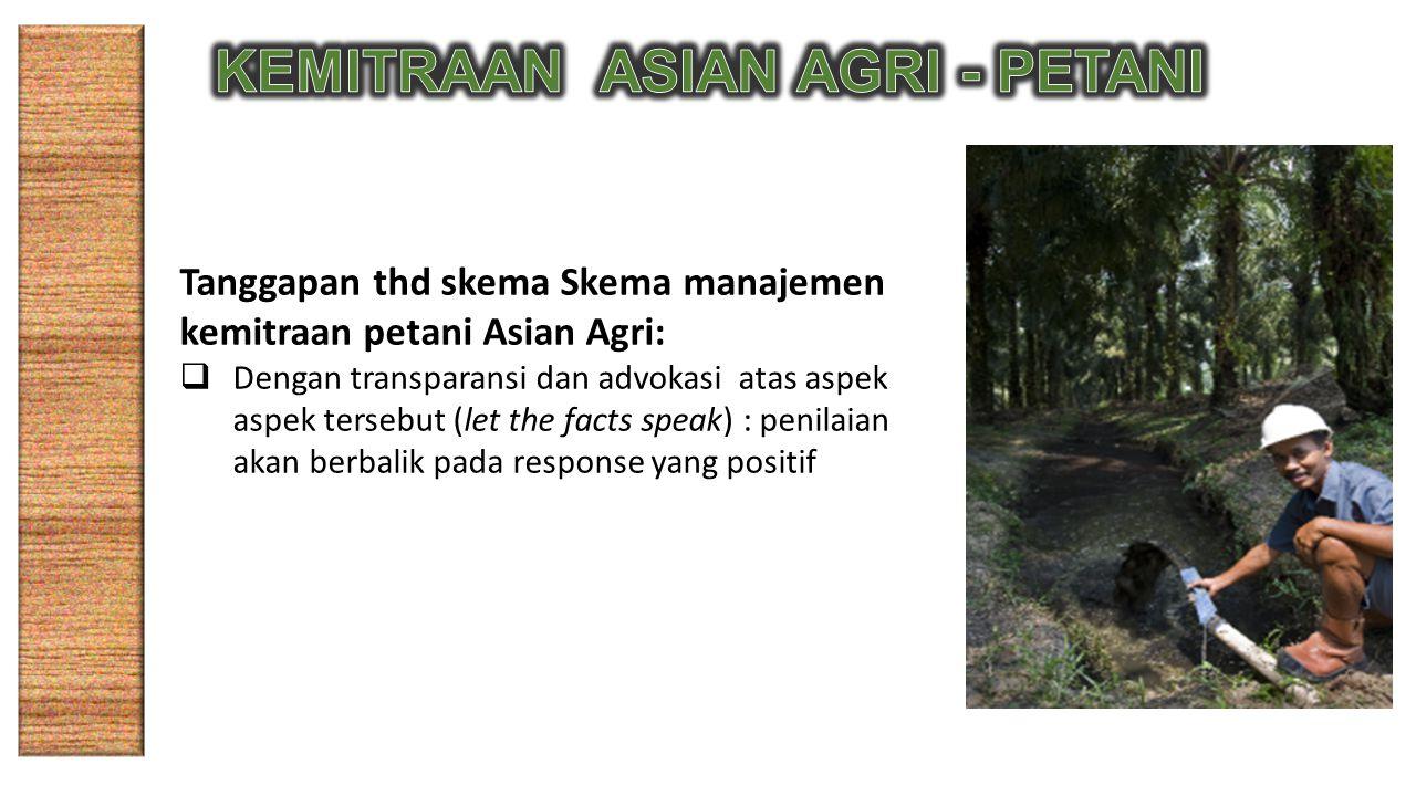 Tanggapan thd skema Skema manajemen kemitraan petani Asian Agri:  Dengan transparansi dan advokasi atas aspek aspek tersebut (let the facts speak) : penilaian akan berbalik pada response yang positif