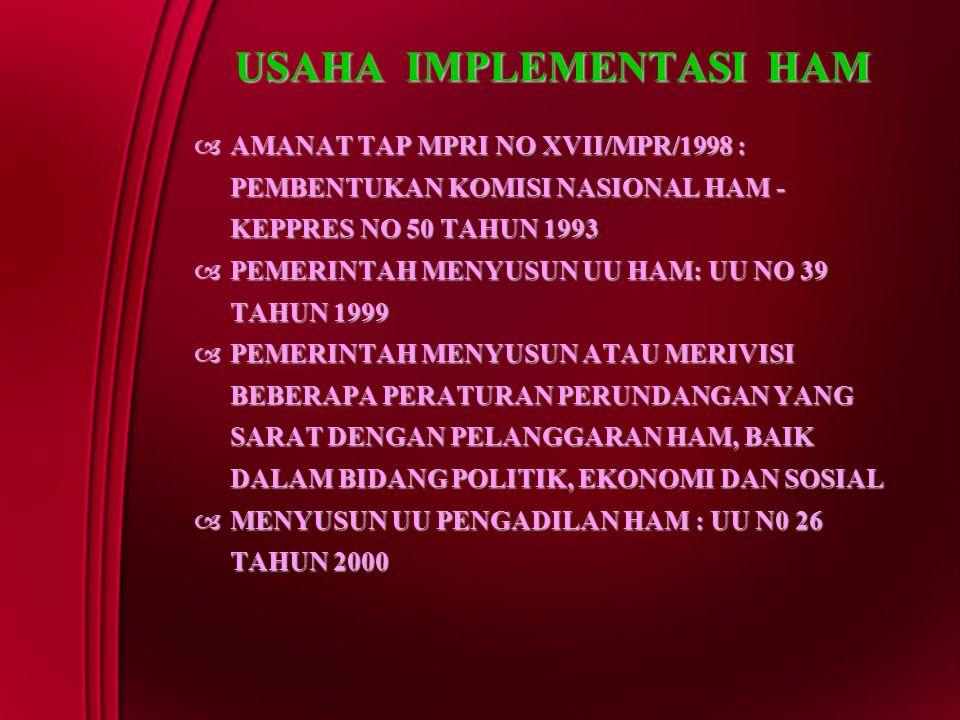 USAHA IMPLEMENTASI HAM  AMANAT TAP MPRI NO XVII/MPR/1998 : PEMBENTUKAN KOMISI NASIONAL HAM - KEPPRES NO 50 TAHUN 1993  PEMERINTAH MENYUSUN UU HAM: U