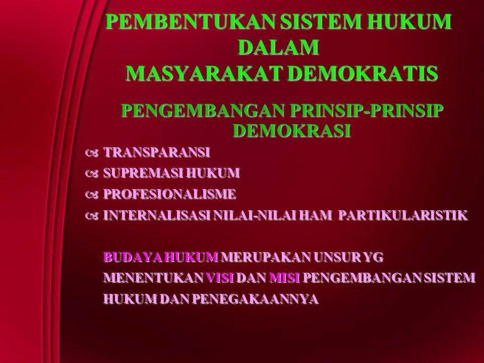 PEMBENTUKAN SISTEM HUKUM DALAM MASYARAKAT DEMOKRATIS PENGEMBANGAN PRINSIP-PRINSIP DEMOKRASI  TRANSPARANSI  SUPREMASI HUKUM  PROFESIONALISME  INTER
