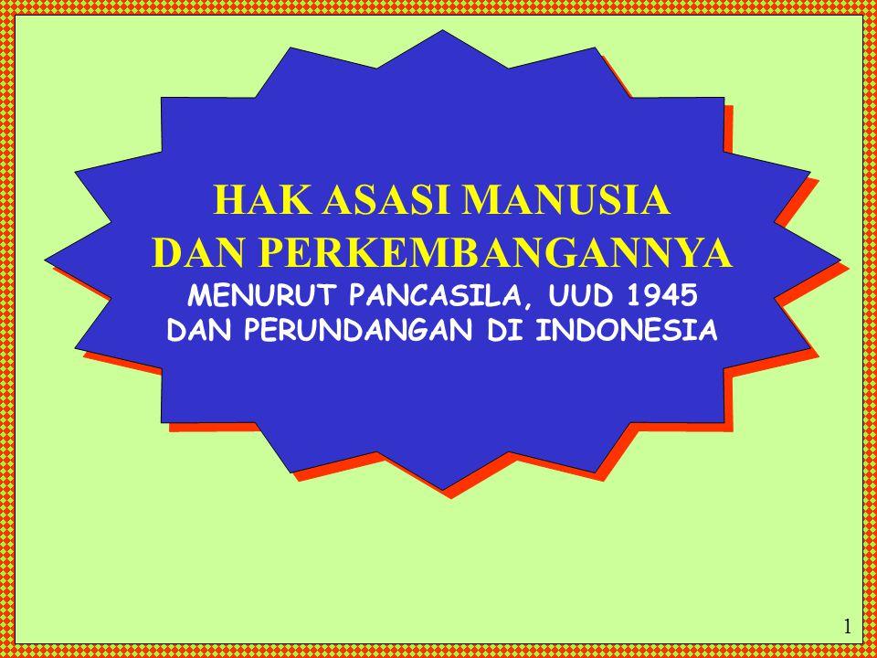 HAK ASASI MANUSIA DAN PERKEMBANGANNYA MENURUT PANCASILA, UUD 1945 DAN PERUNDANGAN DI INDONESIA HAK ASASI MANUSIA DAN PERKEMBANGANNYA MENURUT PANCASILA