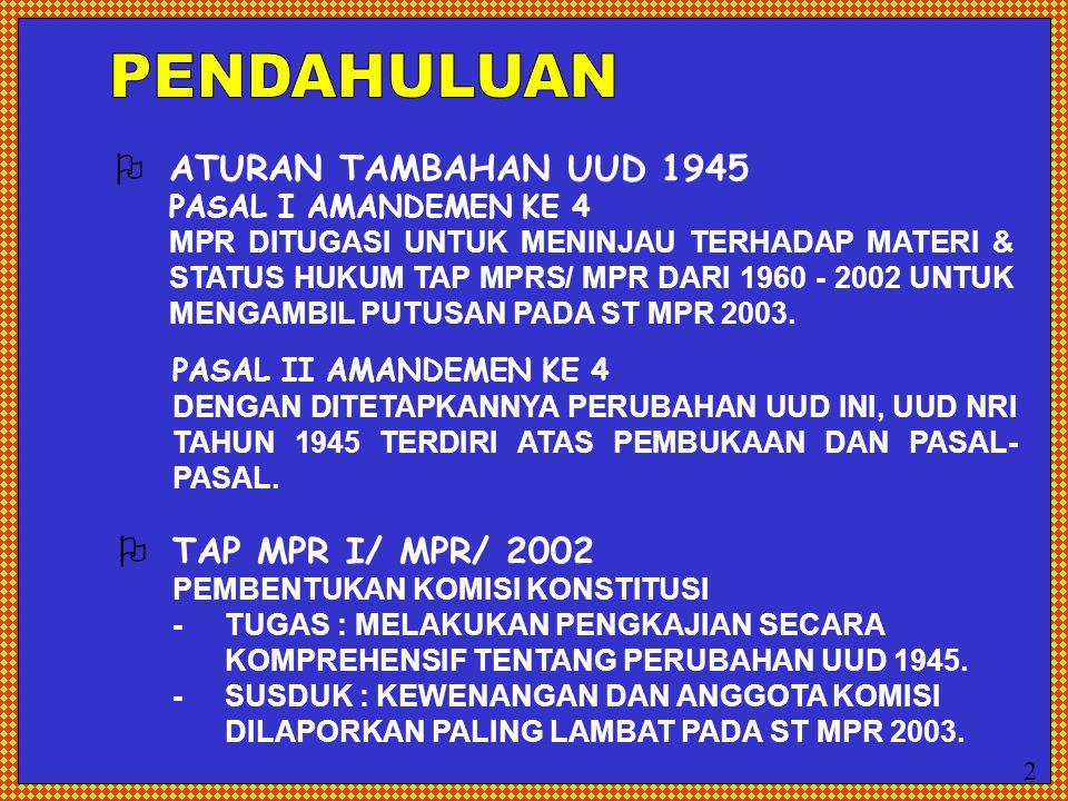  ATURAN TAMBAHAN UUD 1945 PASAL I AMANDEMEN KE 4 MPR DITUGASI UNTUK MENINJAU TERHADAP MATERI & STATUS HUKUM TAP MPRS/ MPR DARI 1960 - 2002 UNTUK MENG