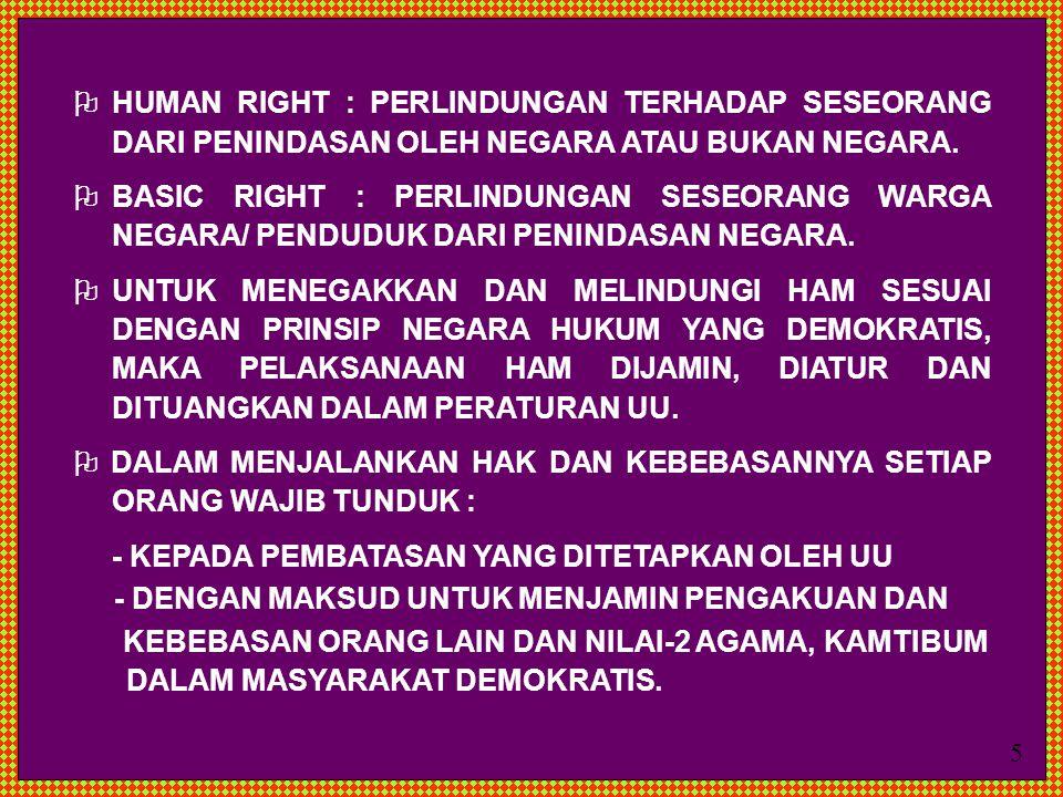  HUMAN RIGHT : PERLINDUNGAN TERHADAP SESEORANG DARI PENINDASAN OLEH NEGARA ATAU BUKAN NEGARA.  BASIC RIGHT : PERLINDUNGAN SESEORANG WARGA NEGARA/ PE