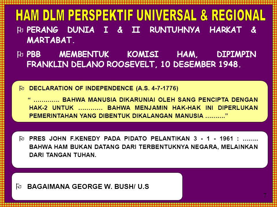  PERANG DUNIA I & II RUNTUHNYA HARKAT & MARTABAT.  PBB MEMBENTUK KOMISI HAM, DIPIMPIN FRANKLIN DELANO ROOSEVELT, 10 DESEMBER 1948.  BAGAIMANA GEORG