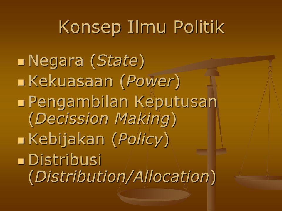 Konsep Ilmu Politik Negara (State) Negara (State) Kekuasaan (Power) Kekuasaan (Power) Pengambilan Keputusan (Decission Making) Pengambilan Keputusan (