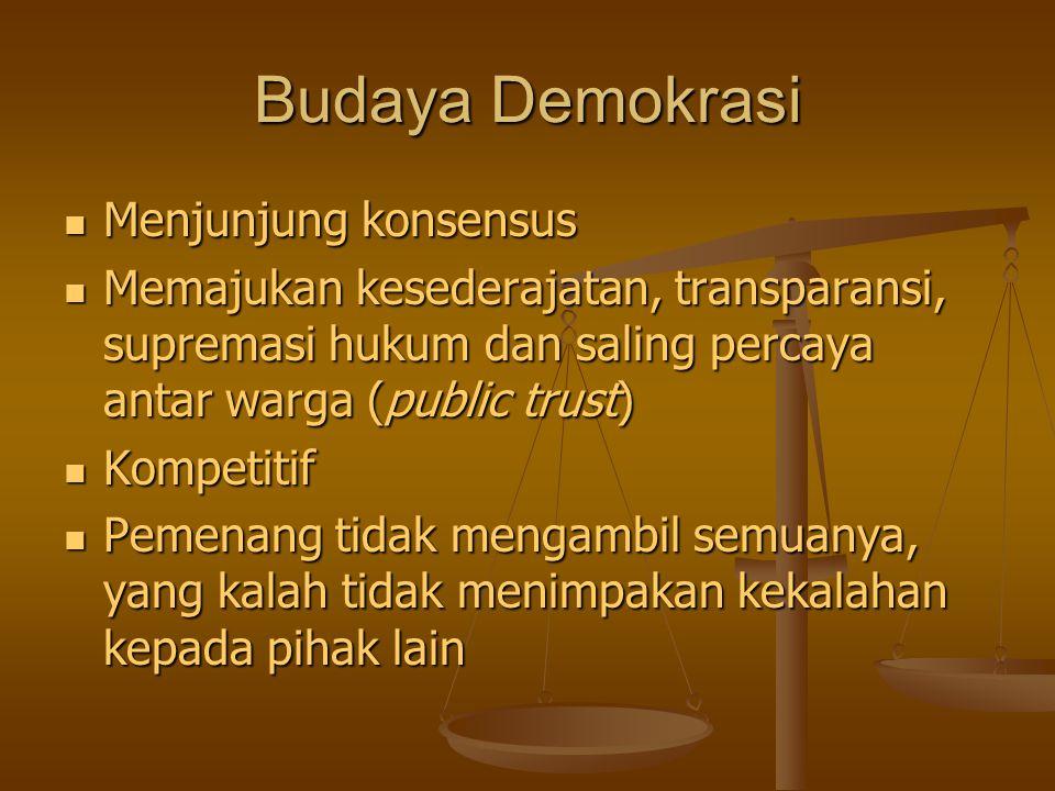 Budaya Demokrasi Menjunjung konsensus Menjunjung konsensus Memajukan kesederajatan, transparansi, supremasi hukum dan saling percaya antar warga (publ