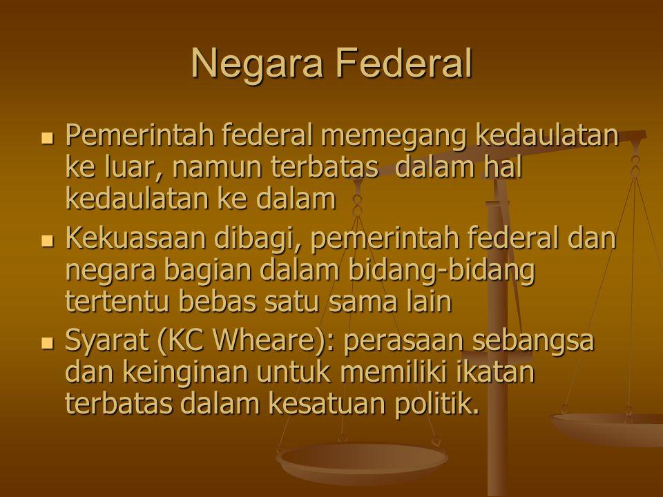 Negara Federal Pemerintah federal memegang kedaulatan ke luar, namun terbatas dalam hal kedaulatan ke dalam Kekuasaan dibagi, pemerintah federal dan n