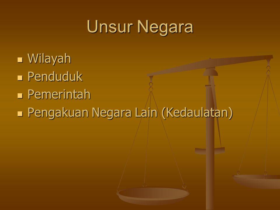 Unsur Negara Wilayah Penduduk Pemerintah Pengakuan Negara Lain (Kedaulatan)