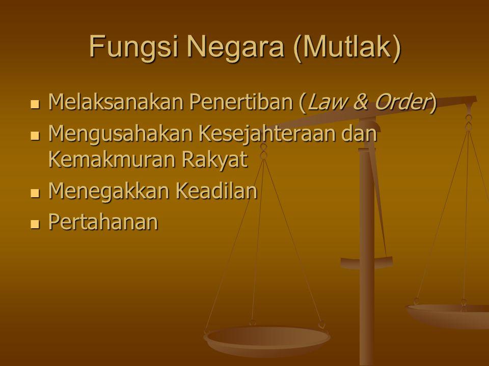 Fungsi Negara (Mutlak) Melaksanakan Penertiban (Law & Order) Melaksanakan Penertiban (Law & Order) Mengusahakan Kesejahteraan dan Kemakmuran Rakyat Mengusahakan Kesejahteraan dan Kemakmuran Rakyat Menegakkan Keadilan Menegakkan Keadilan Pertahanan Pertahanan