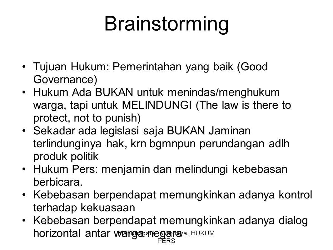 Manunggal K. Wardaya, HUKUM PERS Brainstorming Tujuan Hukum: Pemerintahan yang baik (Good Governance) Hukum Ada BUKAN untuk menindas/menghukum warga,