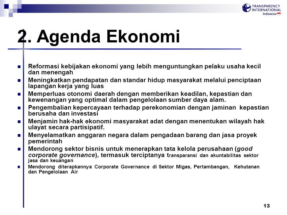 13 2. Agenda Ekonomi Reformasi kebijakan ekonomi yang lebih menguntungkan pelaku usaha kecil dan menengah Meningkatkan pendapatan dan standar hidup ma