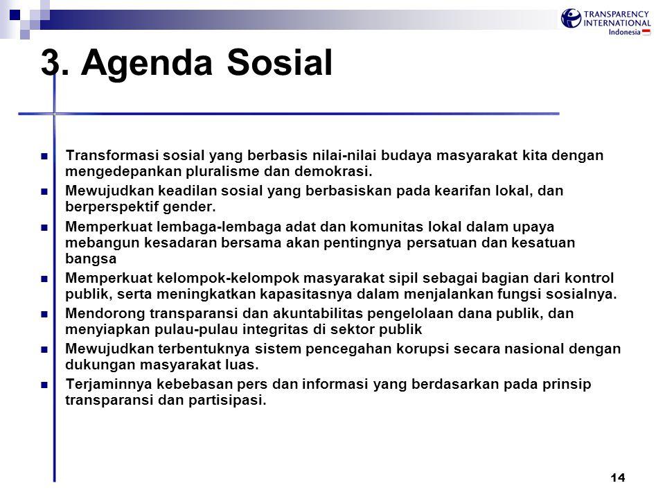 14 3. Agenda Sosial Transformasi sosial yang berbasis nilai-nilai budaya masyarakat kita dengan mengedepankan pluralisme dan demokrasi. Mewujudkan kea