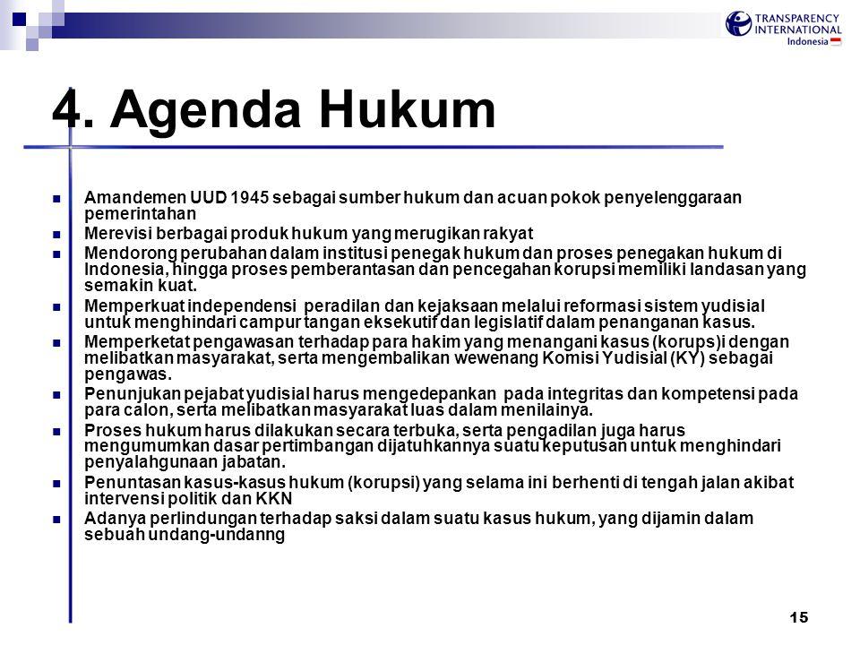 15 4. Agenda Hukum Amandemen UUD 1945 sebagai sumber hukum dan acuan pokok penyelenggaraan pemerintahan Merevisi berbagai produk hukum yang merugikan