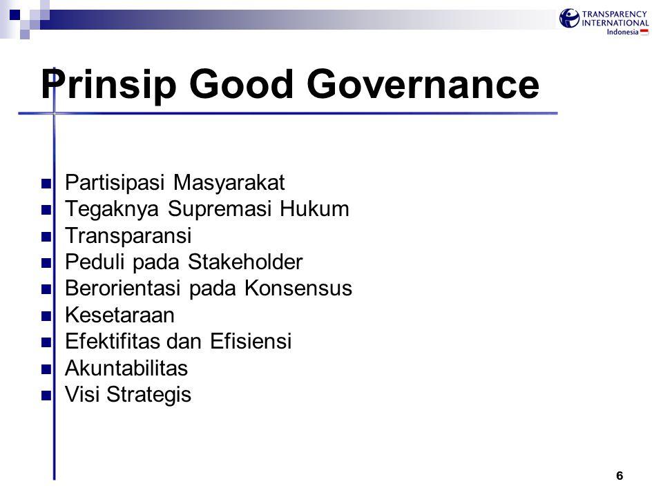 6 Prinsip Good Governance Partisipasi Masyarakat Tegaknya Supremasi Hukum Transparansi Peduli pada Stakeholder Berorientasi pada Konsensus Kesetaraan