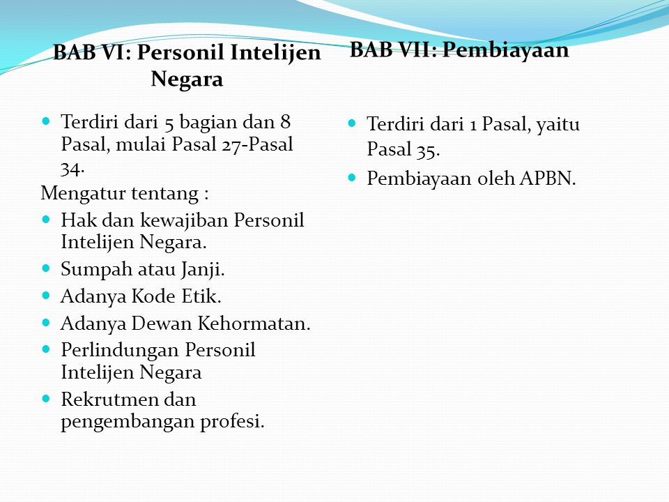 BAB VI: Personil Intelijen Negara BAB VII: Pembiayaan Terdiri dari 5 bagian dan 8 Pasal, mulai Pasal 27-Pasal 34. Mengatur tentang : Hak dan kewajiban