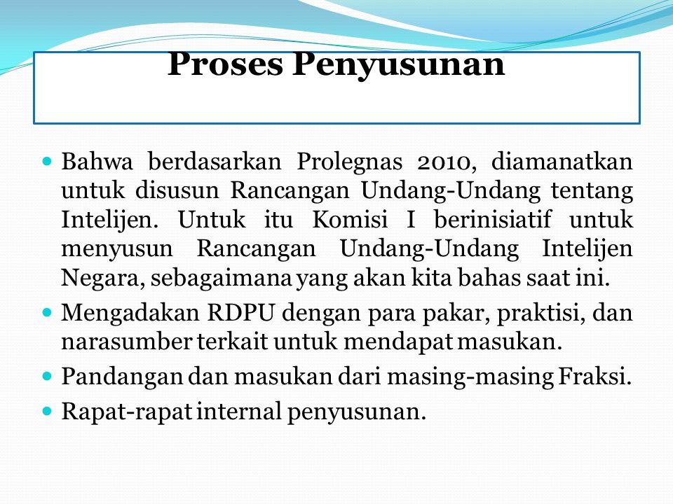 Proses Penyusunan Bahwa berdasarkan Prolegnas 2010, diamanatkan untuk disusun Rancangan Undang-Undang tentang Intelijen. Untuk itu Komisi I berinisiat