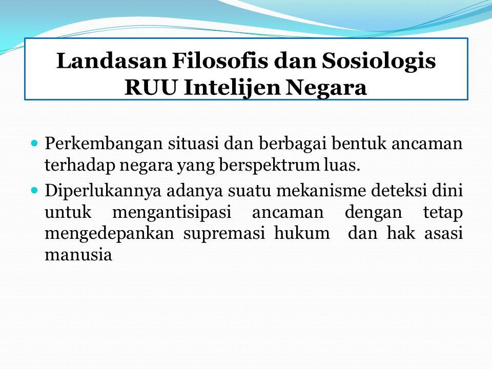 Landasan Filosofis dan Sosiologis RUU Intelijen Negara Perkembangan situasi dan berbagai bentuk ancaman terhadap negara yang berspektrum luas.