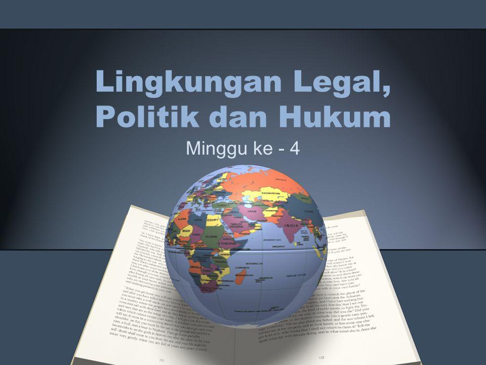 Lingkungan politik Kegiatan pemasaran Global dipengaruhi oleh institusi pemerintah, partai-2 politik dan organisasi-organisasi.