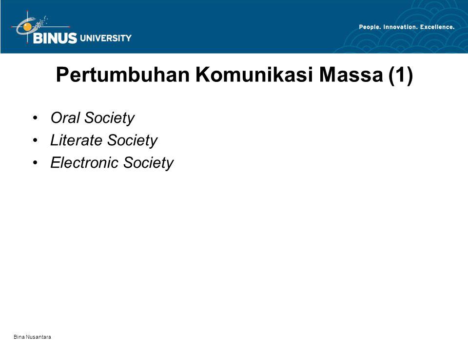Bina Nusantara Pertumbuhan Komunikasi Massa (1) Oral Society Literate Society Electronic Society