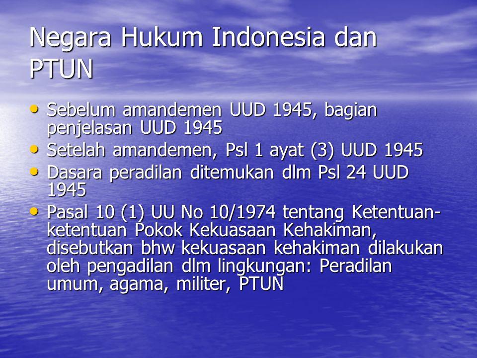 Negara Hukum Indonesia dan PTUN Sebelum amandemen UUD 1945, bagian penjelasan UUD 1945 Sebelum amandemen UUD 1945, bagian penjelasan UUD 1945 Setelah