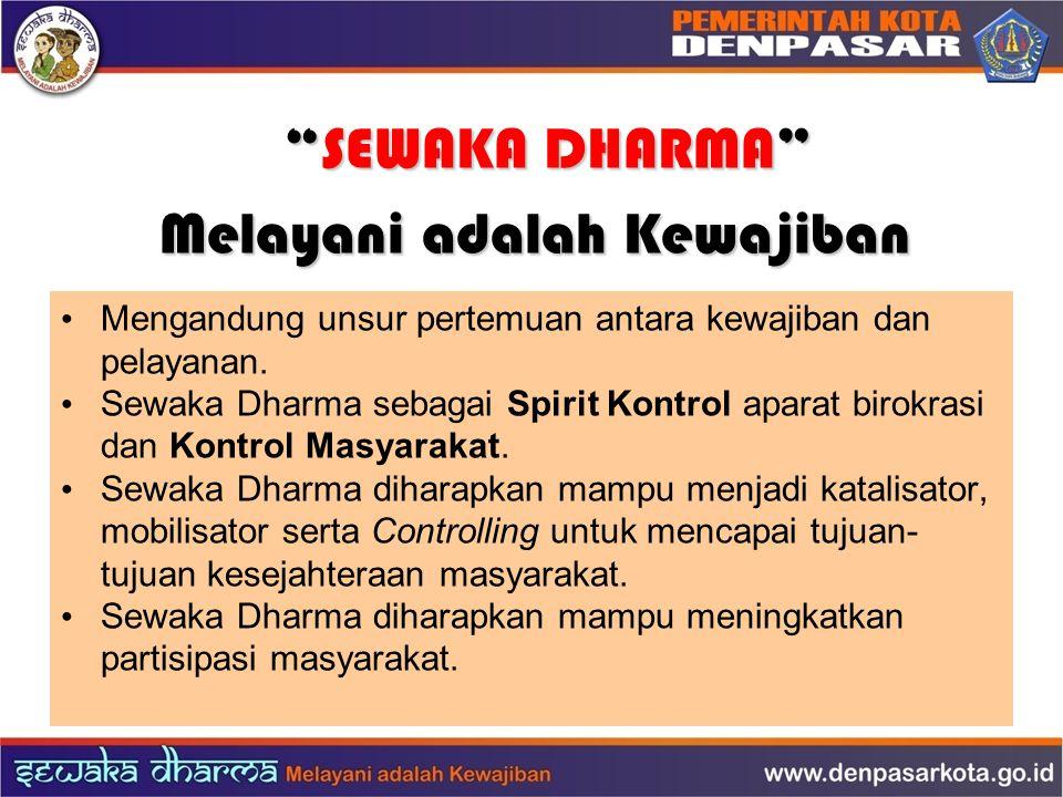 """""""SEWAKA DHARMA"""" """"SEWAKA DHARMA"""" Melayani adalah Kewajiban Mengandung unsur pertemuan antara kewajiban dan pelayanan. Sewaka Dharma sebagai Spirit Kont"""
