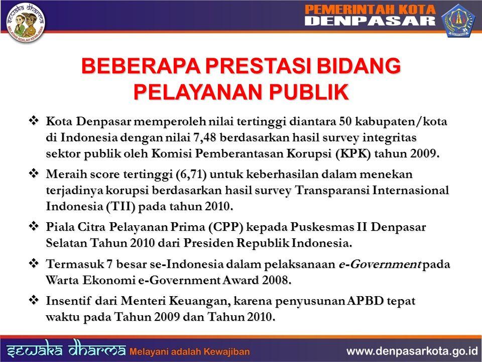 BEBERAPA PRESTASI BIDANG PELAYANAN PUBLIK  Kota Denpasar memperoleh nilai tertinggi diantara 50 kabupaten/kota di Indonesia dengan nilai 7,48 berdasa