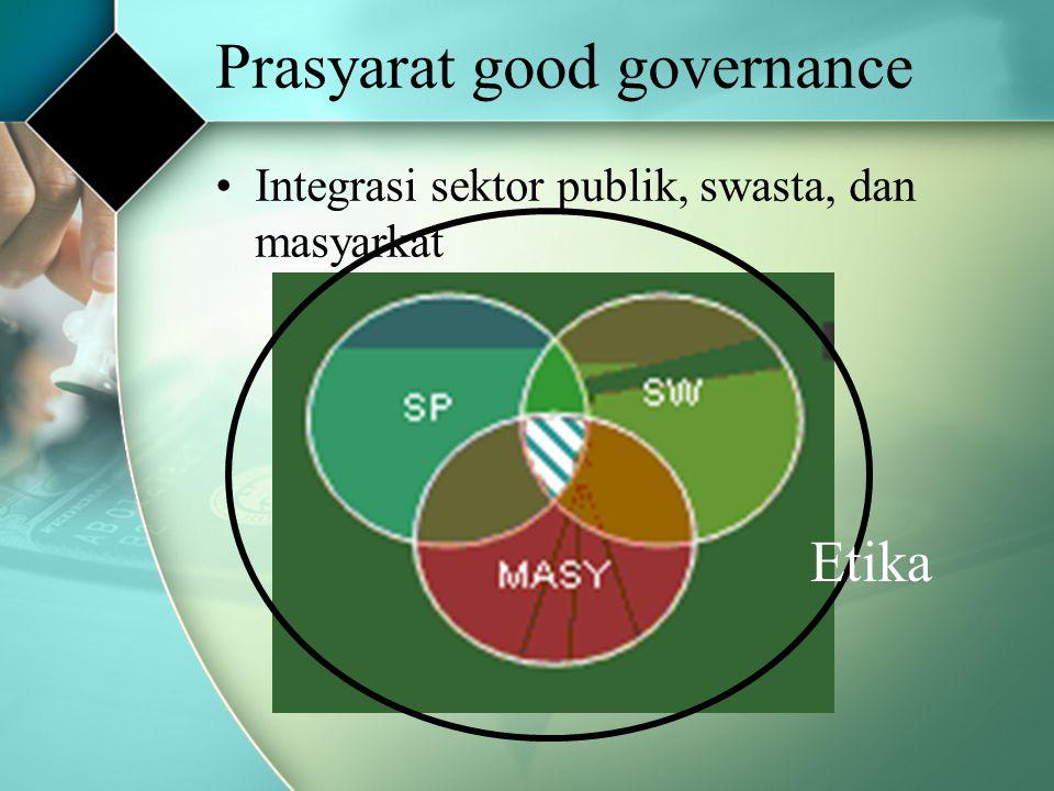 Prasyarat good governance Integrasi sektor publik, swasta, dan masyarkat Etika