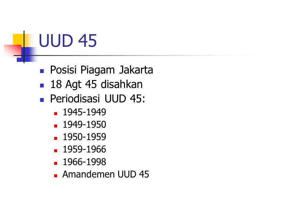 UUD 45 Posisi Piagam Jakarta 18 Agt 45 disahkan Periodisasi UUD 45: 1945-1949 1949-1950 1950-1959 1959-1966 1966-1998 Amandemen UUD 45