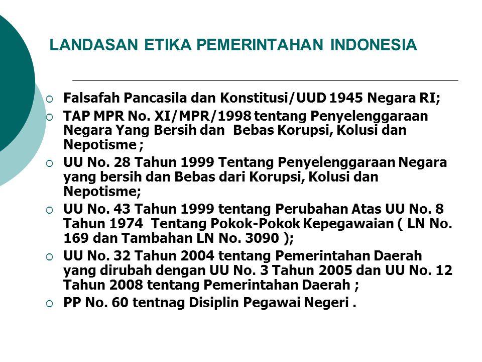 LANDASAN ETIKA PEMERINTAHAN INDONESIA  Falsafah Pancasila dan Konstitusi/UUD 1945 Negara RI;  TAP MPR No. XI/MPR/1998 tentang Penyelenggaraan Negara