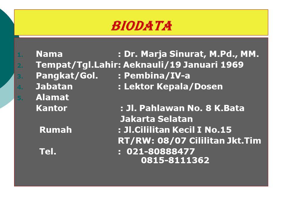BIODATA 1. Nama : Dr. Marja Sinurat, M.Pd., MM. 2. Tempat/Tgl.Lahir: Aeknauli/19 Januari 1969 3. Pangkat/Gol. : Pembina/IV-a 4. Jabatan : Lektor Kepal