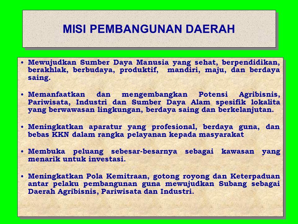 VISI KABUPATEN SUBANG Terwujudnya Kabupaten Subang sebagai Daerah Agribisnis, Pariwisata dan Industri yang Berwawasan Lingkungan dan Religius serta Berbudaya melalui Pembangunan Berbasis Gotong Royong pada Tahun 2024.