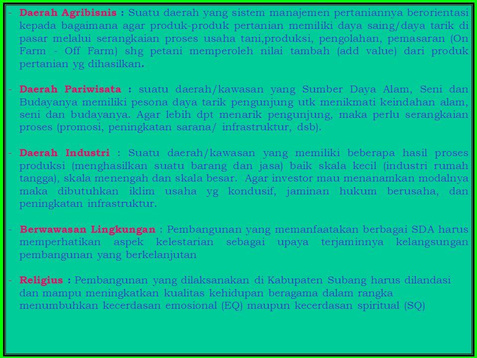 HUBUNGAN PENCAPAIAN IPM DGN NILAI-NILAI VISI KABUPATEN SUBANG IPM PENDIDIKAN KESEHATAN DAYA BELI (Agribisnis, pariwisata dan industri) BERBUDAYA GOTONG ROYONG RELIGIUS BERWAWASAN LINGKUNGAN