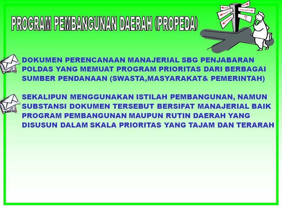 Pola Dasar Pembangunan adalah Dokumen Perencanaan Induk yang memuat komitemen Politis daerah tentang Visi, Misi, dan Arah Pembangunan Jangka Menengah Daerah.
