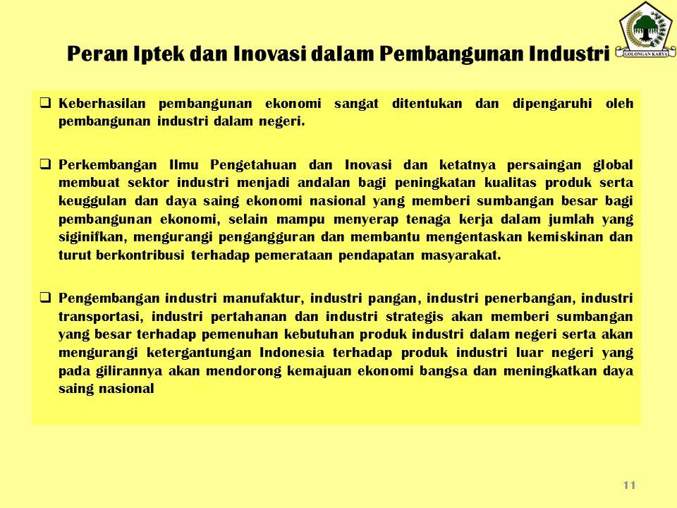 Peran Iptek dan Inovasi dalam Pembangunan Industri  Keberhasilan pembangunan ekonomi sangat ditentukan dan dipengaruhi oleh pembangunan industri dala