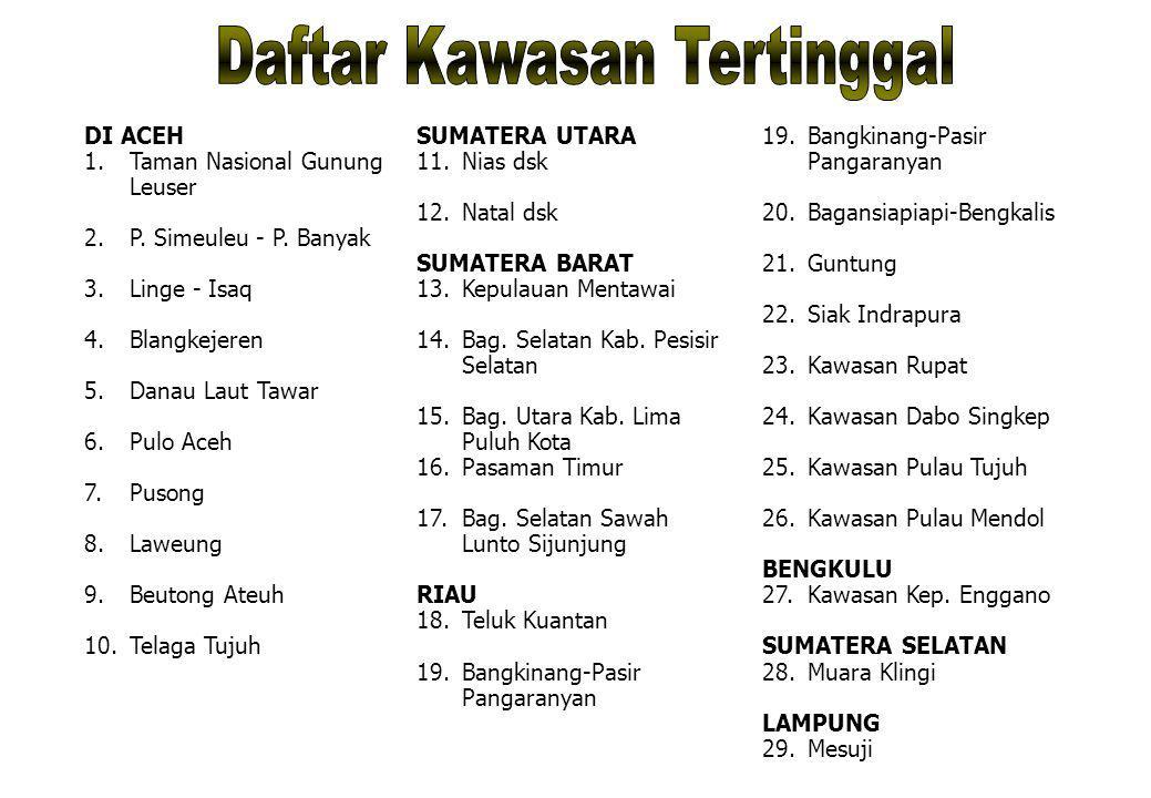 DI ACEH 1. Taman Nasional Gunung Leuser 2. P. Simeuleu - P. Banyak 3. Linge - Isaq 4. Blangkejeren 5. Danau Laut Tawar 6. Pulo Aceh 7. Pusong 8. Laweu