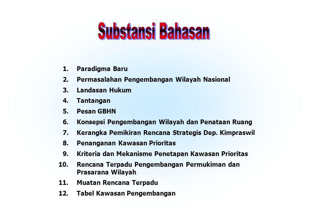 Permasalahan Pengembangan Wilayah Nasional Landasan Hukum Tantangan Pesan GBHN Kerangka Pemikiran Rencana Strategis Dep. Kimpraswil Rencana Terpadu Pe