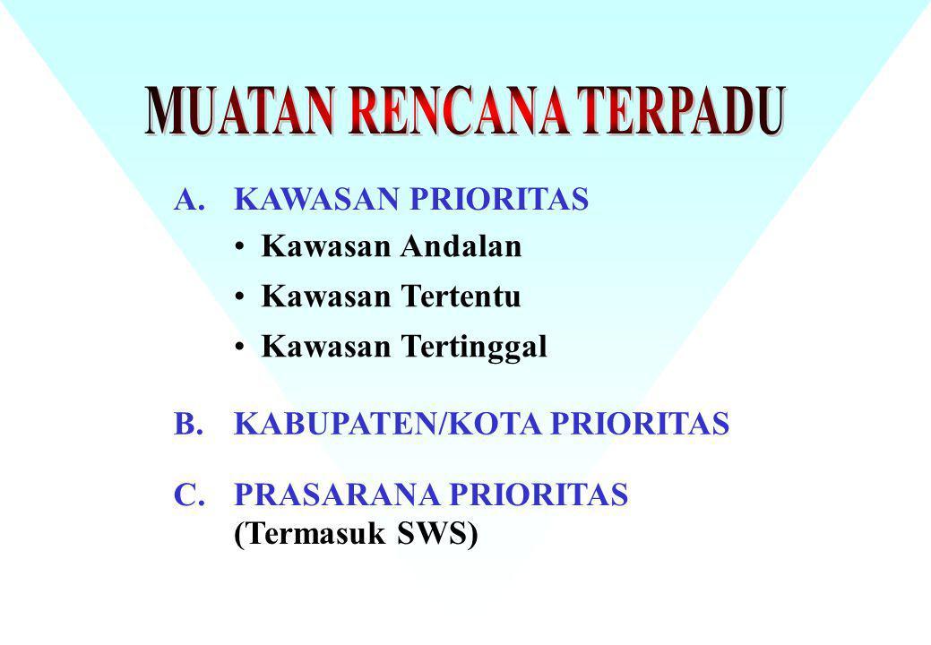 A.KAWASAN PRIORITAS B.KABUPATEN/KOTA PRIORITAS C.PRASARANA PRIORITAS Kawasan Andalan Kawasan Tertentu Kawasan Tertinggal (Termasuk SWS)
