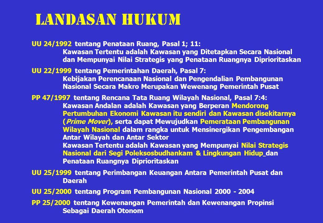 UU 24/1992 tentang Penataan Ruang, Pasal 1; 11: Kawasan Tertentu adalah Kawasan yang Ditetapkan Secara Nasional dan Mempunyai Nilai Strategis yang Pen