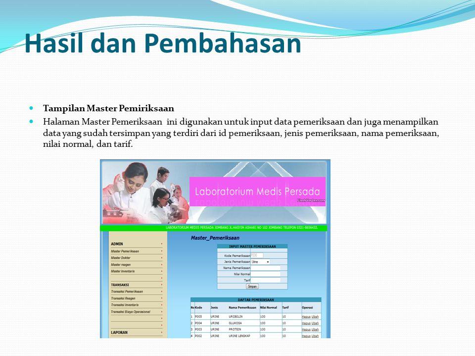 Hasil dan Pembahasan Tampilan Master Pemiriksaan Halaman Master Pemeriksaan ini digunakan untuk input data pemeriksaan dan juga menampilkan data yang sudah tersimpan yang terdiri dari id pemeriksaan, jenis pemeriksaan, nama pemeriksaan, nilai normal, dan tarif.