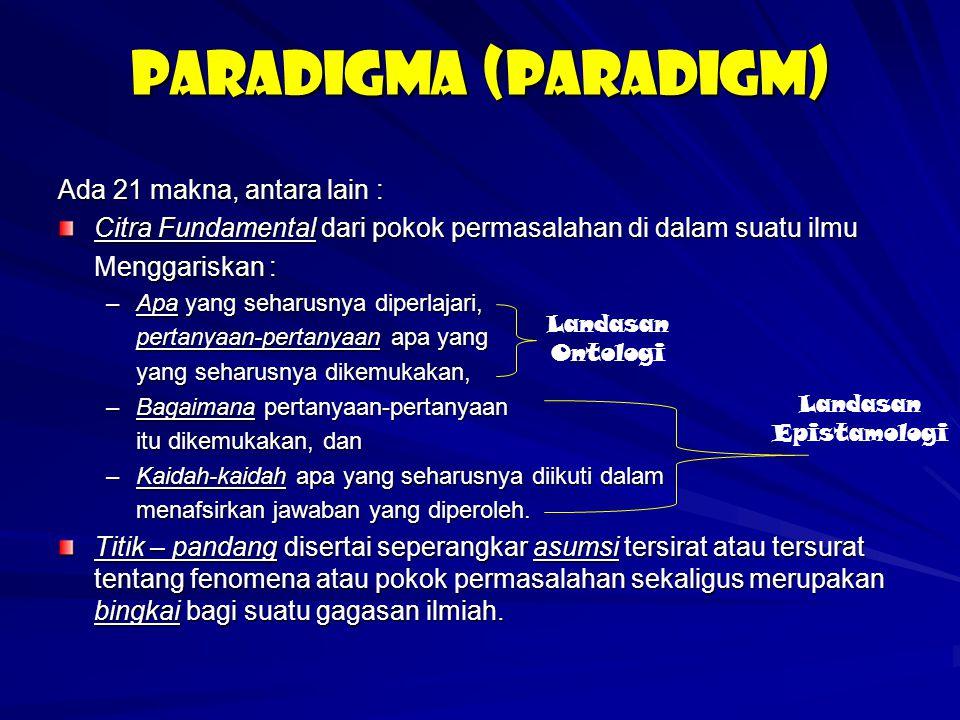 PARADIGMA (PARADIGM) Ada 21 makna, antara lain : Citra Fundamental dari pokok permasalahan di dalam suatu ilmu Menggariskan : –Apa yang seharusnya dip